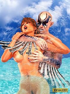 Mermaid man prefers rough ass fucking