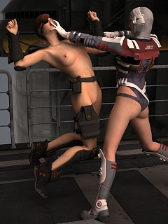 Naked lesbian fighters fuck each other for survival
